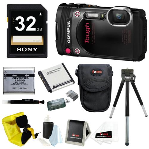 Olympus TG-870 Waterproof Digital Camera (Black) w/ 32GB SD Card & Battery Pack Bundle