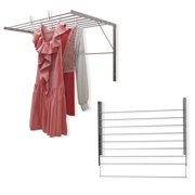 Easily Adjustable Folding Design Stainless Steel Wall Mount Clothes Drying Racks Set of 2