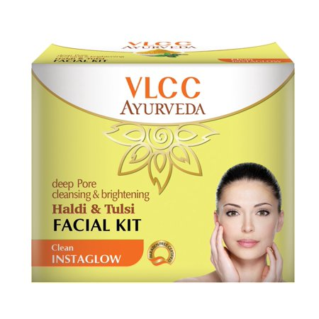 Brightening Kit (VLCC veda Deep Pore Cleansing And Brightening Haldi And Tulsi Facial Kit, 50g)