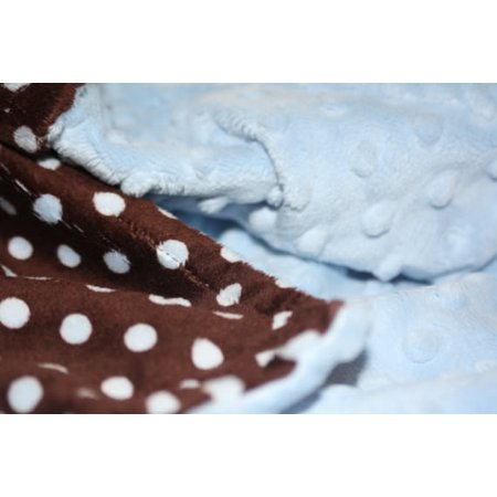 Polka Dot Blankets (Minky Blanket - Baby Blanket, Toddler Blanket, Child Blanket, Teen, Throw Blanket - Brown and Blue Polka Dot Print Minky with Blue Dot Minky - Junior Child/Throw Blanket (@45