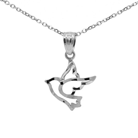 "925 Sterling Silver Holy Spirit Dove Pendant Necklace with 16"" Chain"