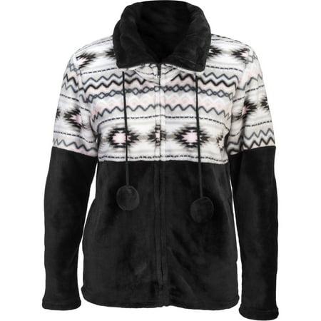 Women's Aztec Flannel Plush Fleece Full Zip Jacket Color: BLACK-GRAY & PINK-42, Size: XL