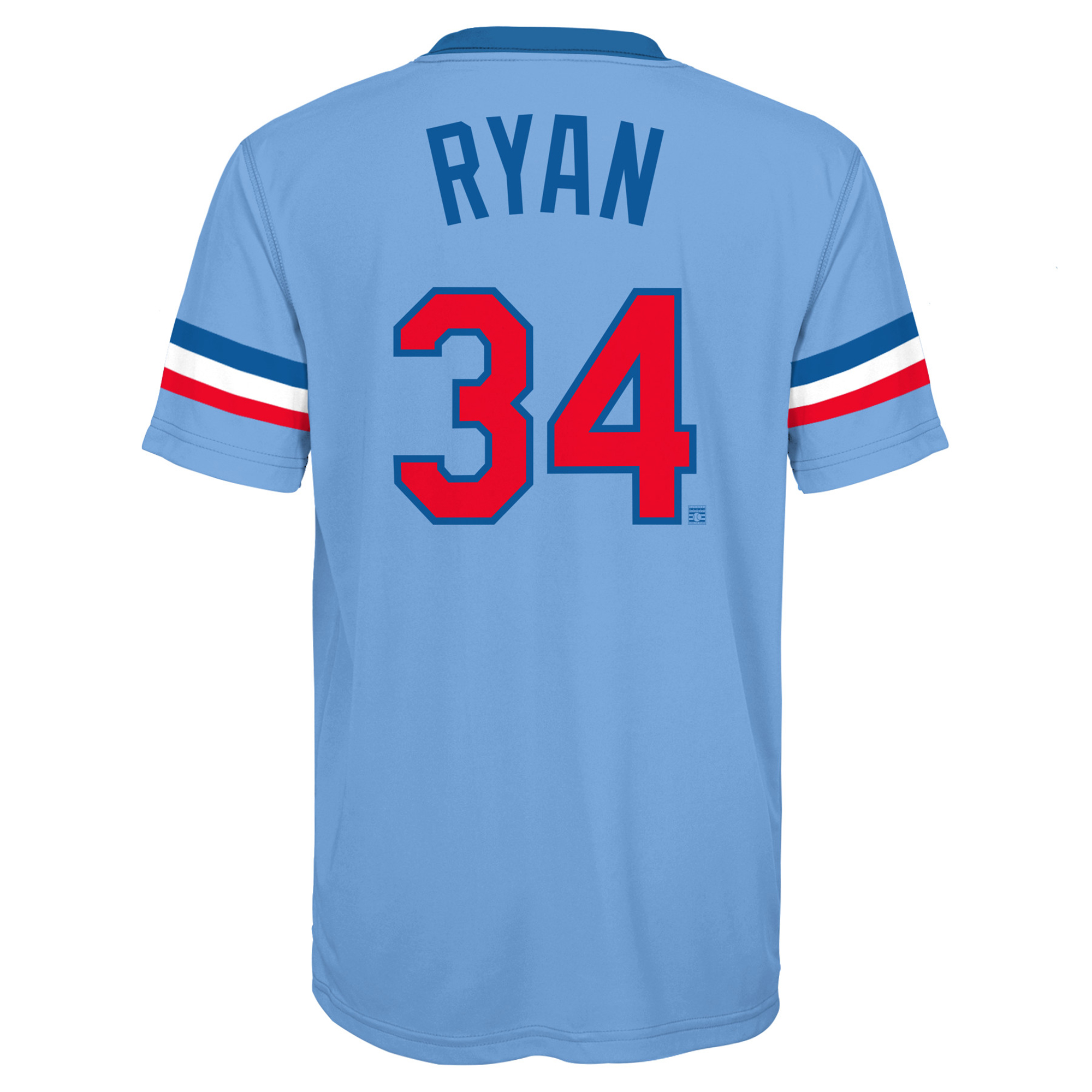Sublimated Blue Ryan Cooperstown Player Rangers Jersey Texas Light - Nolan Youth Top