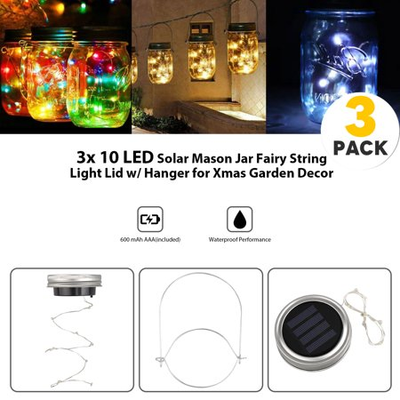 EEEKit Solar Mason Jar Lights, 3 Pack 10 Led String Fairy Star Firefly Jar Lids Lights, 3 Hangers Included(Jars Not Included), Best for Mason Jar Decor,Great Outdoor Lawn Decor for Patio Garden,