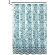 Teal Aqua Fabric Shower Curtain: Floral Gems Mandala Print with Geometric Border Design 72LTeal