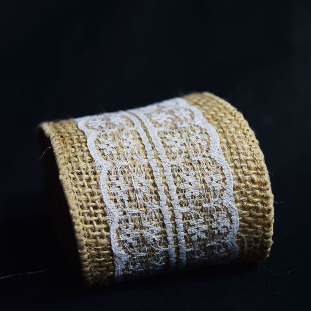 Quasimoon Burlap and Lace Style No.5 Fabric Wrap Roll (2.4 x 6 Ft) by PaperLanternStore