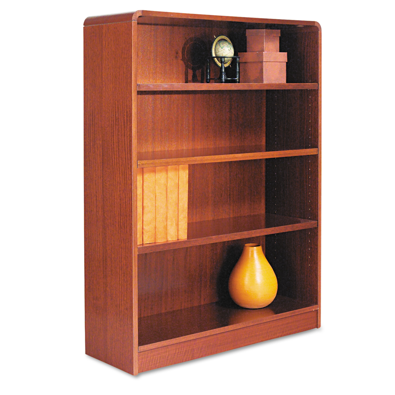 Alera Radius Corner Wood Bookcase, Four-Shelf, 35-5/8w x 11-3/4d x 48h, Medium Cherry