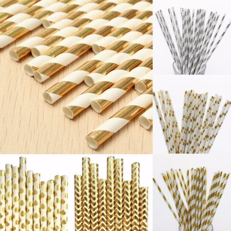 25 x Gold silver Foil Drinking Paper Straws Wedding Party Event,5# color
