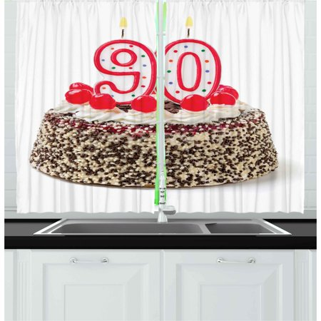 90th Birthday Curtains 2 Panels Set Cake With Tasty Cherries Burning Candles And Number