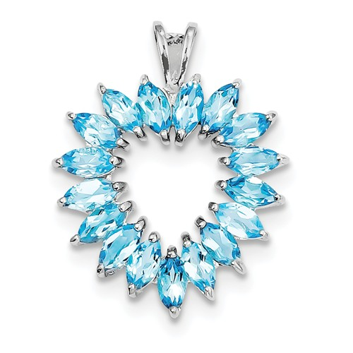 Sterling Silver Rhodium Marquise Swiss Blue Topaz Heart Pendant. Gem Wt- 1.72ct by Jewelrypot