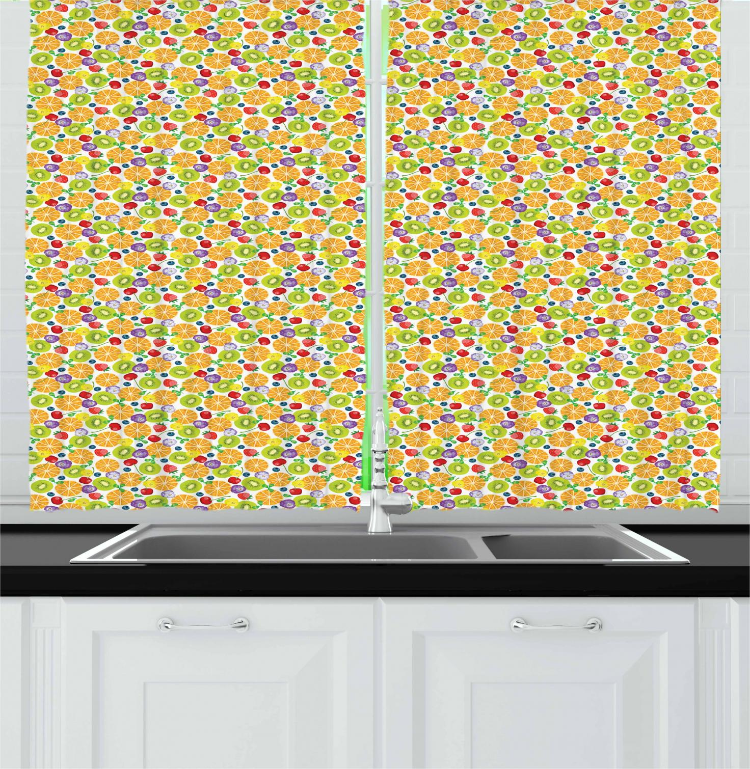 Fruit Pattern Kitchen Curtains: Fruits Curtains 2 Panels Set, Strawberries With Oranges