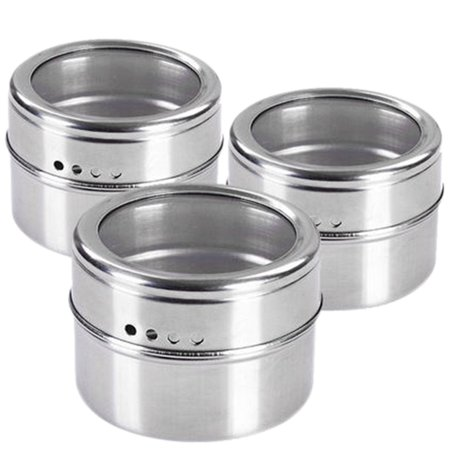 Stainless Steel Seasoning Container Condiment Pot Salt Sugar Pepper Storage Organizer for Roasting/ Sauting/Baking/Grilling - Silver ()