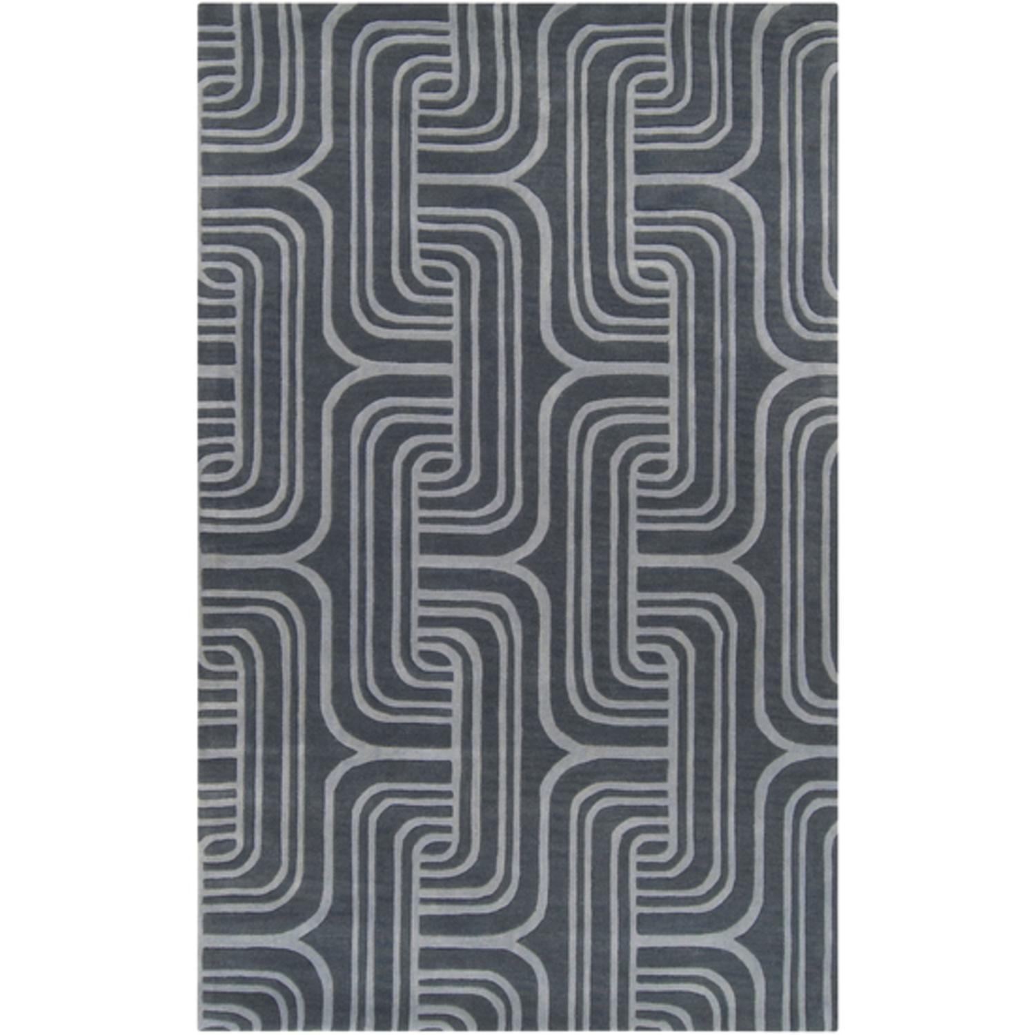 2' x 3' Twilight Dune Midnight and Slate Blue Wool Area Throw Rug