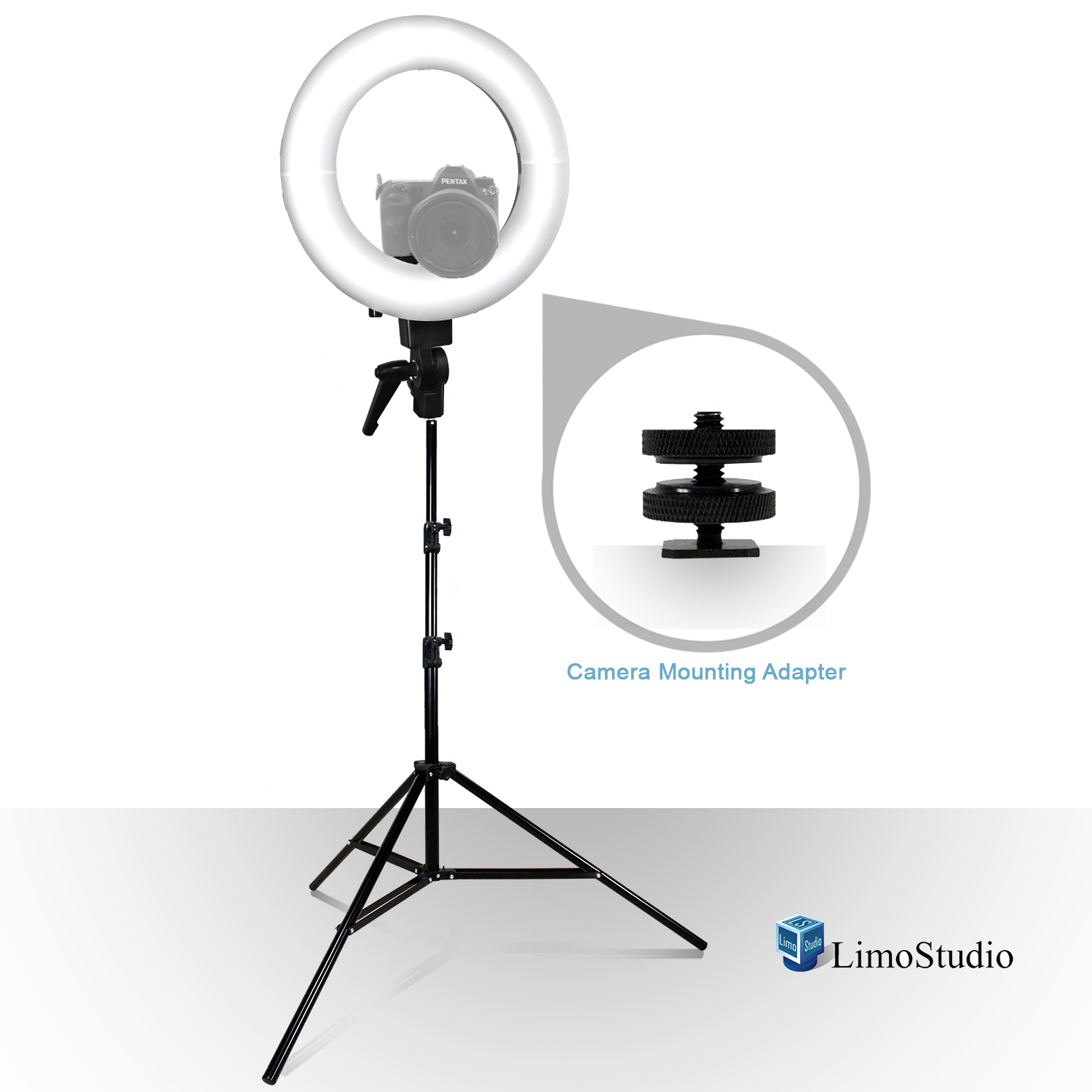 Loadstone Studio 14 Inch Led Round Ring Light With Carry Bag And Light Stand Tripod, Dimmable Continuous Lighting Kit, Snap On White Diffuser Cover & Camera Mounting Bracket, Wmls2734 by Loadstone Studio