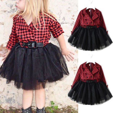 Baby Girl Dresses White and Black Plaid Tutu Skirt Party Princess Formal Outfit Clothes