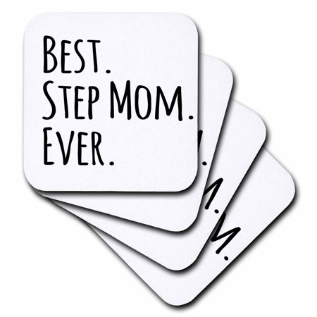 3dRose Best Step Mom Ever - Gifts for family and relatives - stepmom - stepmother - Good for Mothers day, Soft Coasters, set of