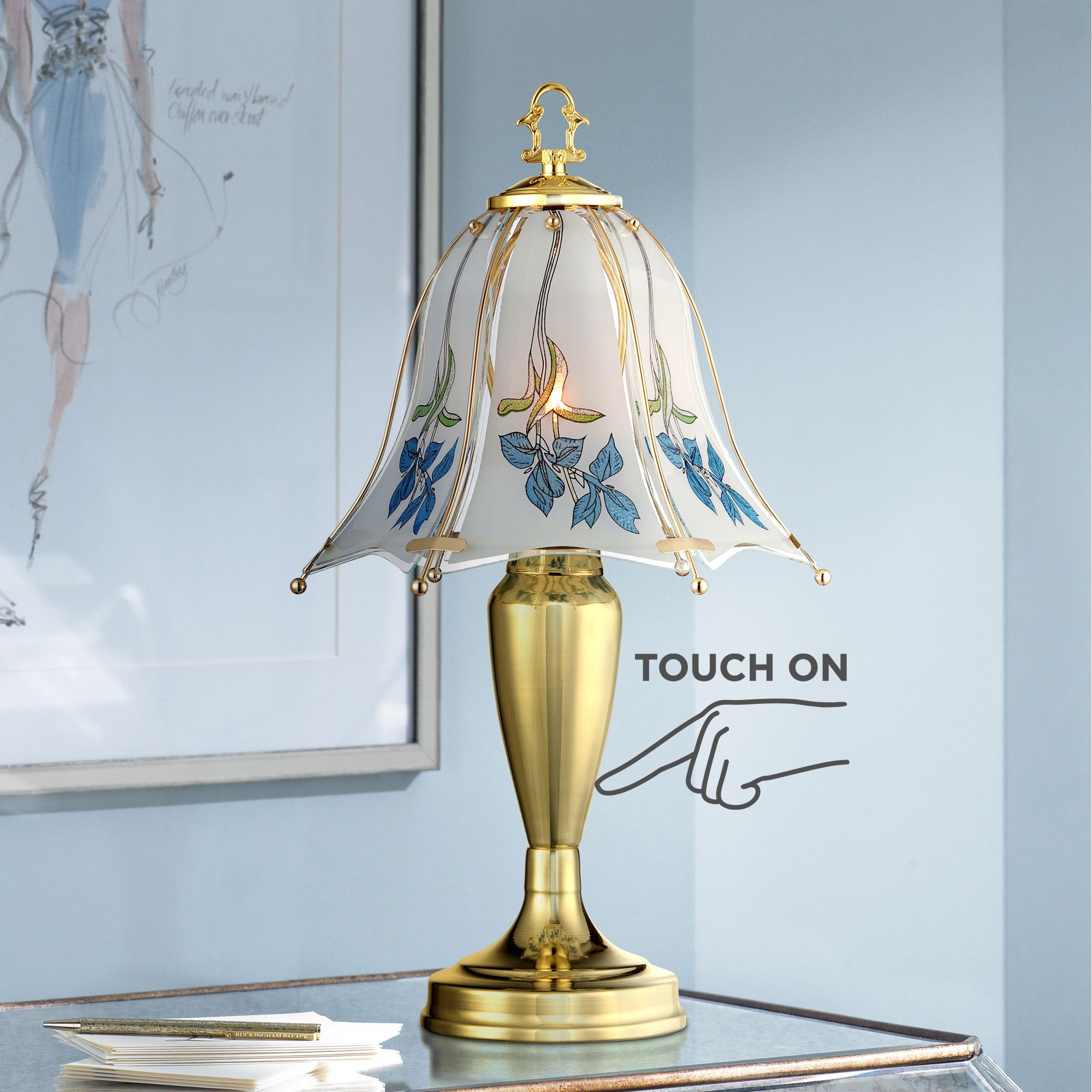 "Regency Hill Traditional Accent Table Lamp 18"" High Brass Blue Floral Glass Shade Touch On Off for Bedroom Bedside Office"