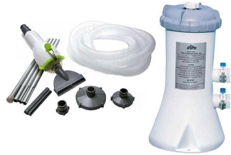 Intex 530 GPH Easy Set Swimming Pool Filter Pump & Skooba Vac Vacuum Combo by Intex