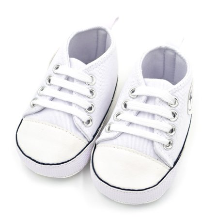 Unisex Baby Boys Girls Star High Top Sneaker Soft Anti-Slip Sole Newborn Infant First Walkers Canvas Shoes 0-18M (All Star Converse For Baby Boy)
