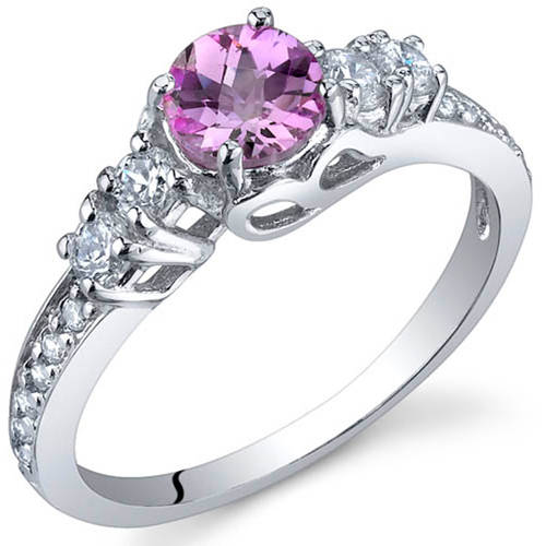 Oravo 0.50 Carat T.G.W. Created Pink Sapphire Rhodium-Plated Sterling Silver Engagement Ring