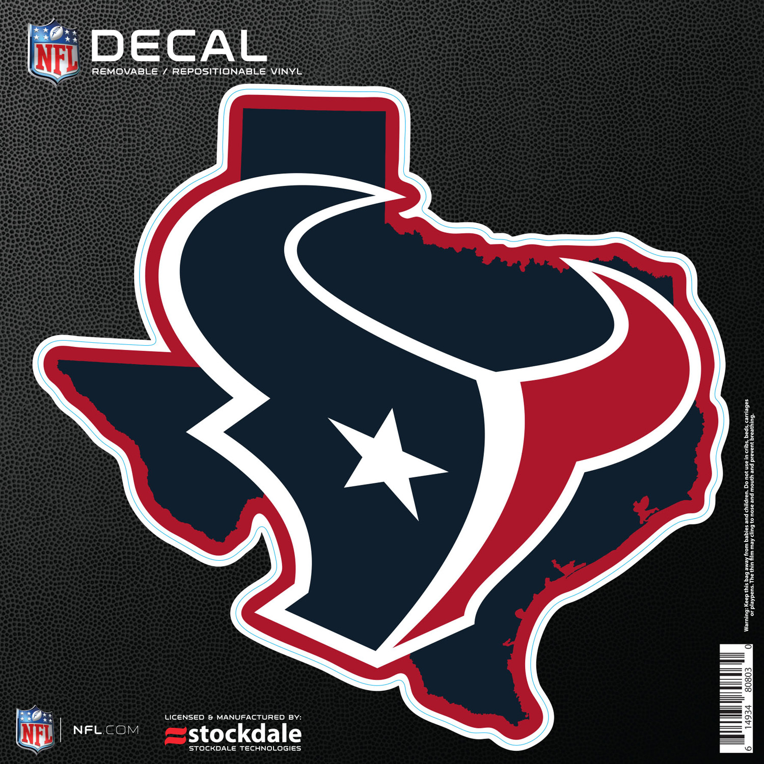 """Houston Texans 6"""" x 6"""" Repositionable State Shape Decal - No Size"""