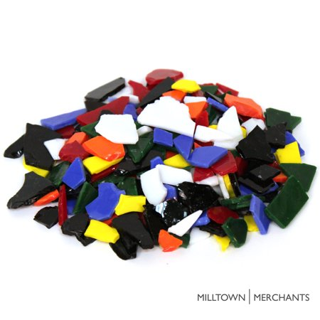 Milltown Merchants Stained Glass Pieces - Opaque and Transparent Stained Glass Cobbles - Broken Glass Chips for Stepping Stones and Crafts - Bright Color Glass Coblets for $<!---->