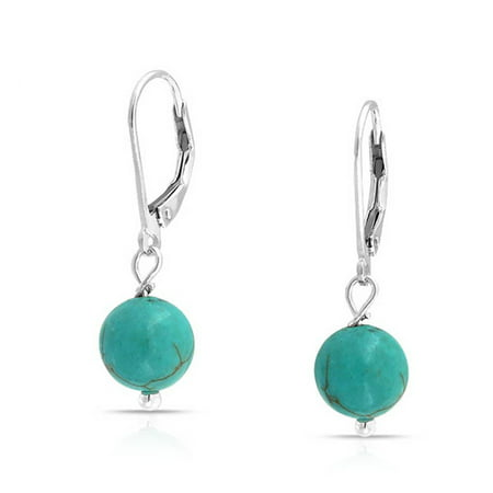 Simple Round Bead Stabilized Turquoise Leverback Ball Drop Earrings For Women 925 Sterling Silver December Birthstone