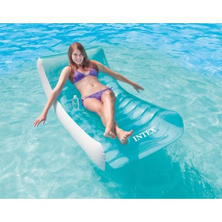 Intex Inflatable Rockin\' Lounge Swimming Pool Floating Raft Chair with  Cupholder