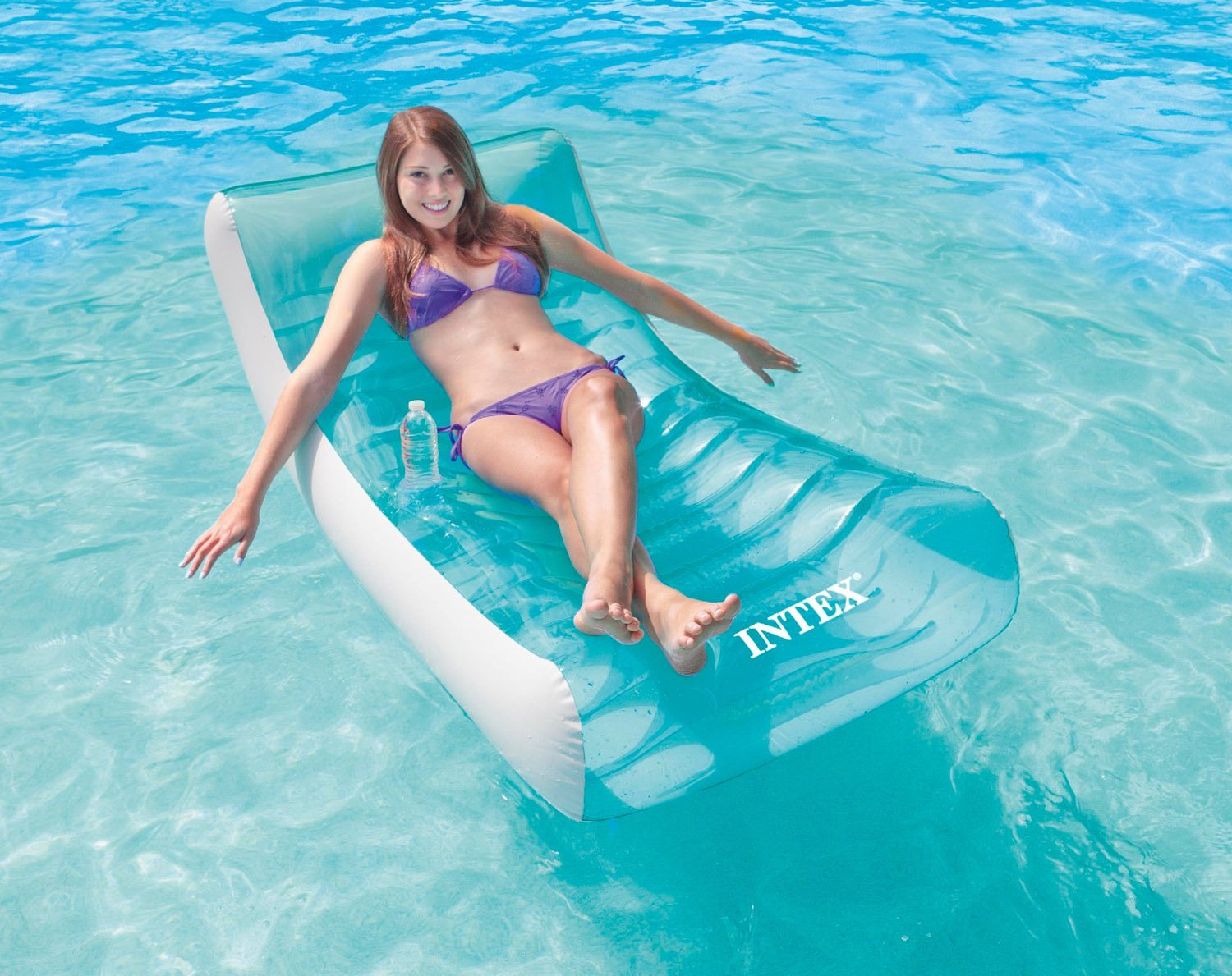 Beau Intex Inflatable Rockinu0027 Lounge Swimming Pool Floating Raft Chair With  Cupholder
