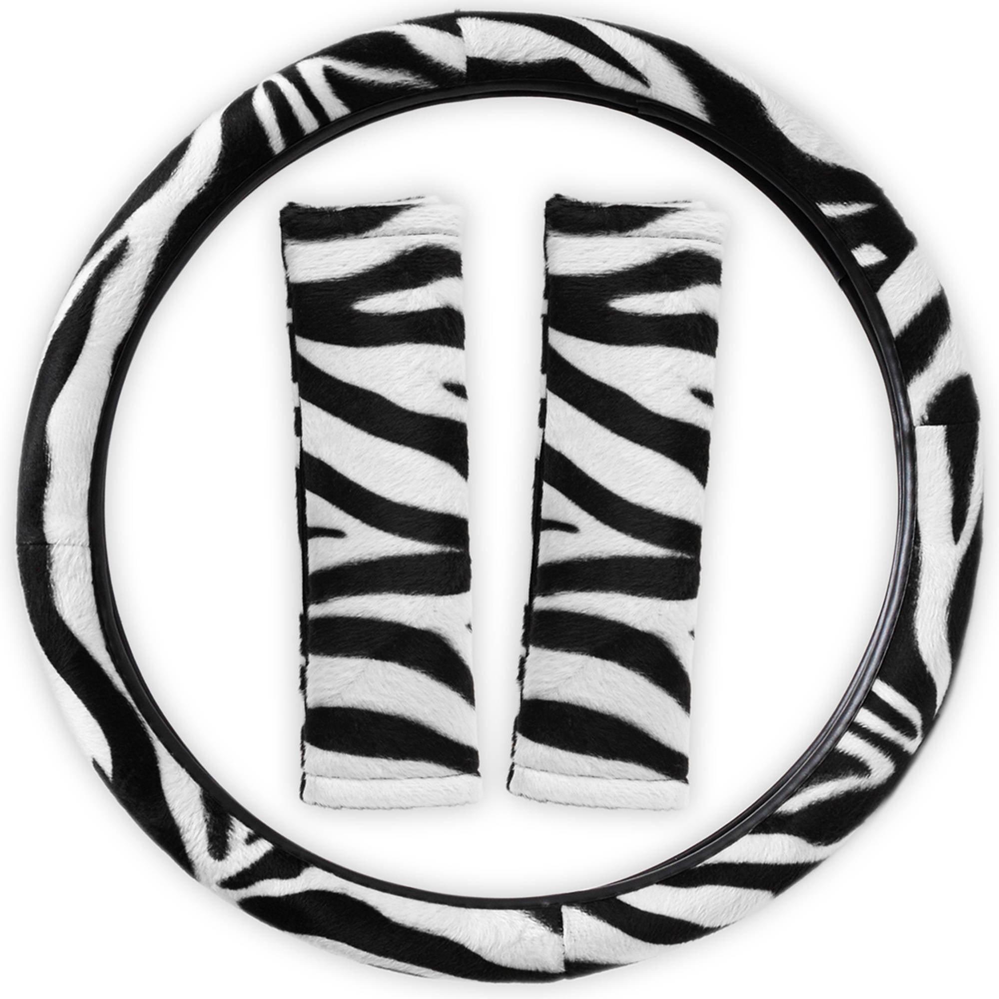 Zebra Print Rainbow Steering Wheel Cover Universal Fit for Car/Truck/Van/SUV