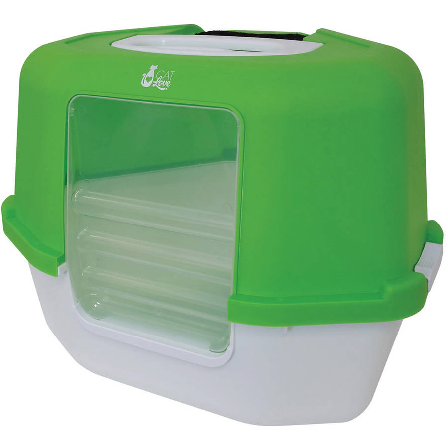 Space Saver Corner Covered Cat Litter Box, Green