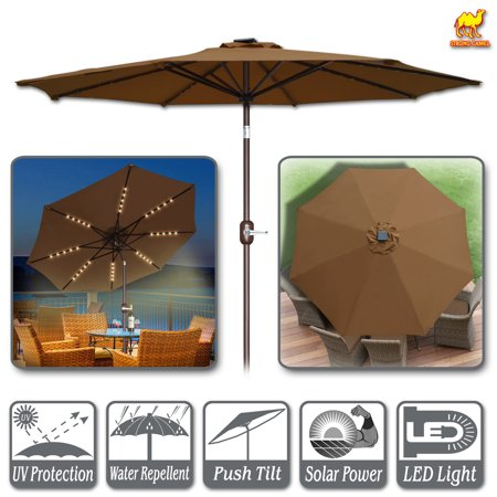 Strong Camel 9ft Solar Lighted Patio Umbrella 40 LED Light Market with Tilt and Crank Parasol Table Round Light Umbrella Sunshade