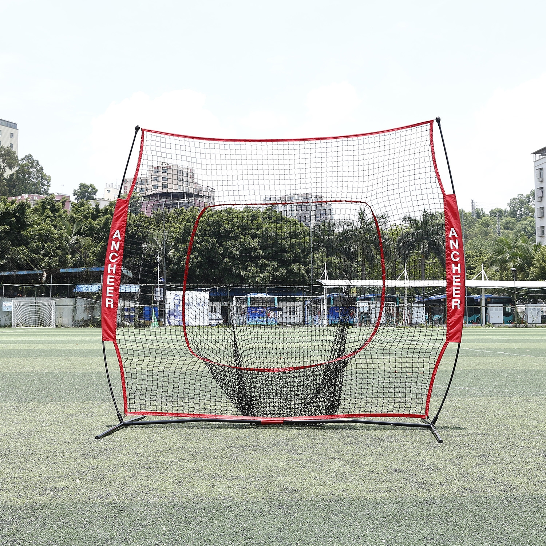 Clearance! Hascon 7 x 7ft Batting Training Net Batting Net Baseball Softball Practice Net with Bow Frame Bag by