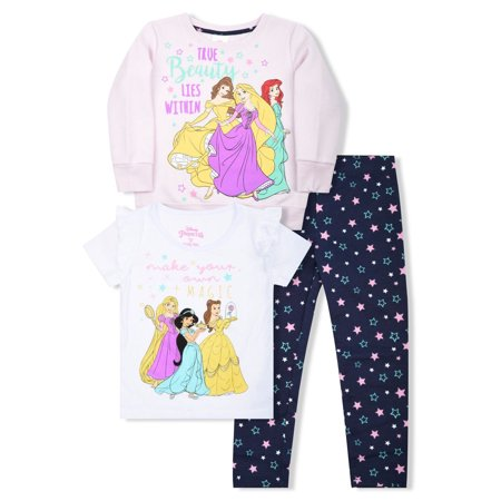 Disney Princess Graphic Sweatshirt, T-Shirts, And Legging, 3-Piece Outfit Set (Little Girls) - Princess Jasmine Inspired Outfit