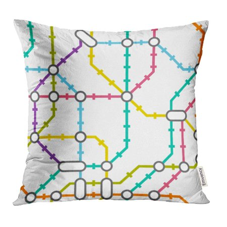 Creative Subway Map.Arhome Colorful Network Subway Map Metro Scheme Tube Underground Abstract City Creative Pillow Case Pillow Cover 20x20 Inch Throw Pillow Covers