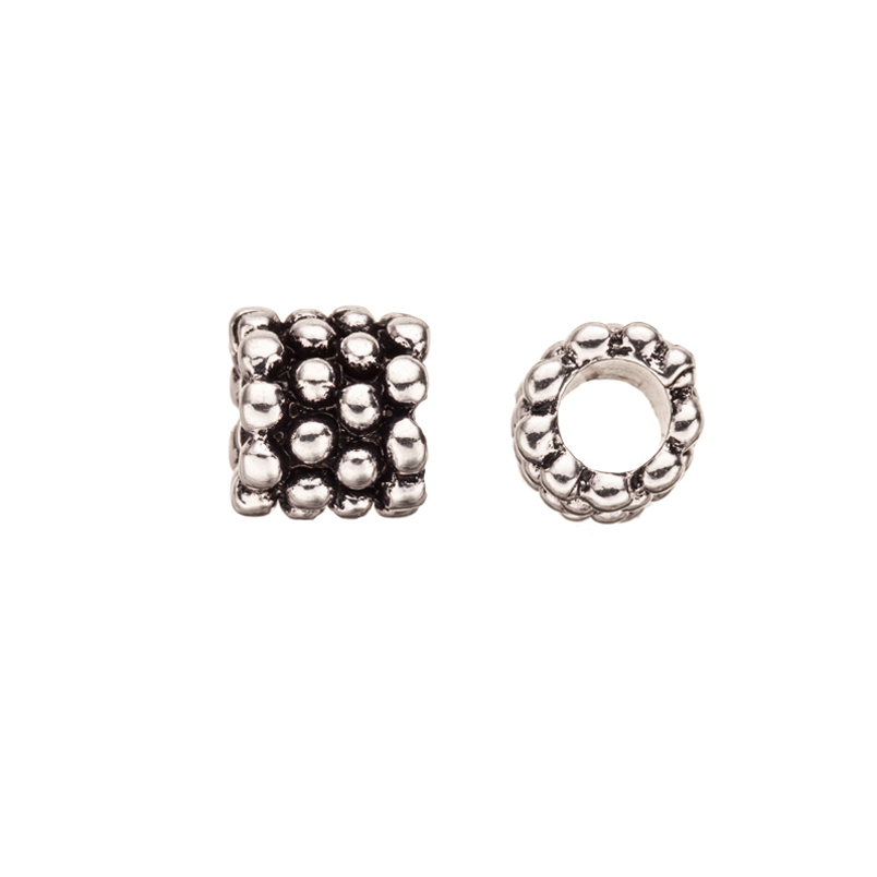 Beaded Rondelle Antique Silver-Plated Large Hole Charm 12x12mm pack of 4pcs (3-Pack Value Bundle), SAVE $2