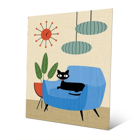 (Click Wall Art 'Retro Cat in Chair and Clock' Graphic Art Print on Metal)