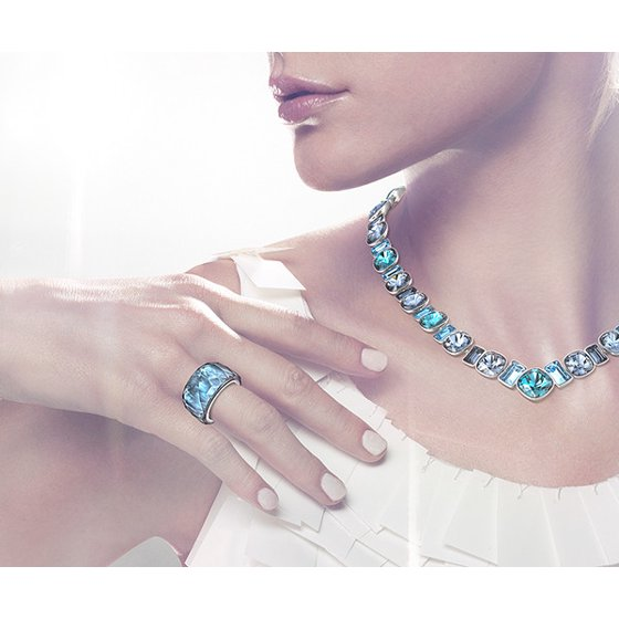 3b58b2fb0 Swarovski - Montana Blue Crystal PETITE NIRVANA RING (Medium/55/7) #5012899  - Walmart.com