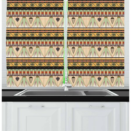 Egyptian Curtains 2 Panels Set, Colorful Abstract Borders Traditional Old Cairo Culture Indigenous Motifs Symbols, Window Drapes for Living Room Bedroom, 55W X 39L Inches, Multicolor, by Ambesonne (Egyptian Panel)