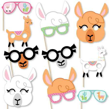 Whole Llama Fun Glasses & Masks -Paper Card Stock Llama Fiesta Baby Shower or Birthday Party Photo Booth Props Kit-10 - Baby Bane Mask