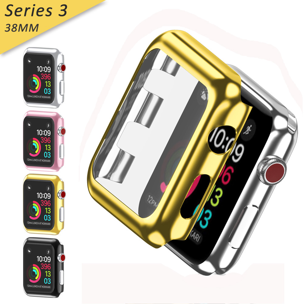 Apple Watch Series 3 Case [38mm] ,Full Cover Snap-On Cover with Built-in Clear Glass Screen Protector Anti-Scratch & Shockproof Hard PC Plated Bumper for iWatch Series 3 38mm 2017 Black,iClover