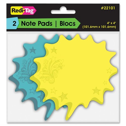 "Redi-Tag Thought Bubble Sticky Notes - 75 x Blue, 75 x Yellow - 4"" x 4"" - Blue, Yellow - Writable, Repositionable, Self-"