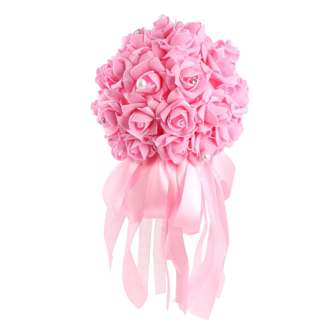 Banquet Bridal Wedding Bridesmaid Holding Bouquet Artificial Rose Flower Pink