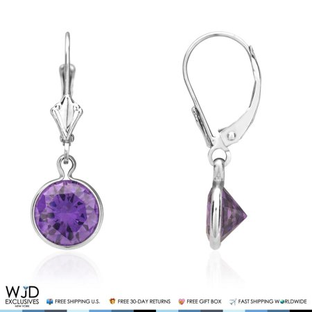 February Birthstone Lever Back Earrings - 14K White Gold Bezel Set Round Amethyst Dangle Drop Lever Back Earrings 1