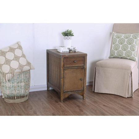 American Country Furniture (Furniture of America Keller Country Rustic Side Table with Cabinet )