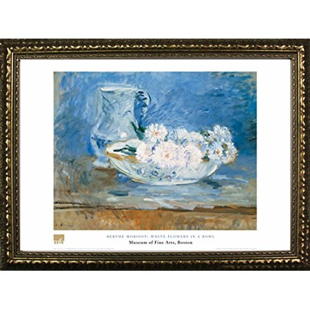 - buyartforless FRAMED White Flowers In A Bowl by Berthe Morisot, 24x32 Art Print Poster Floral Still Life Famous Painting From Museum of Fine Arts Boston Collection