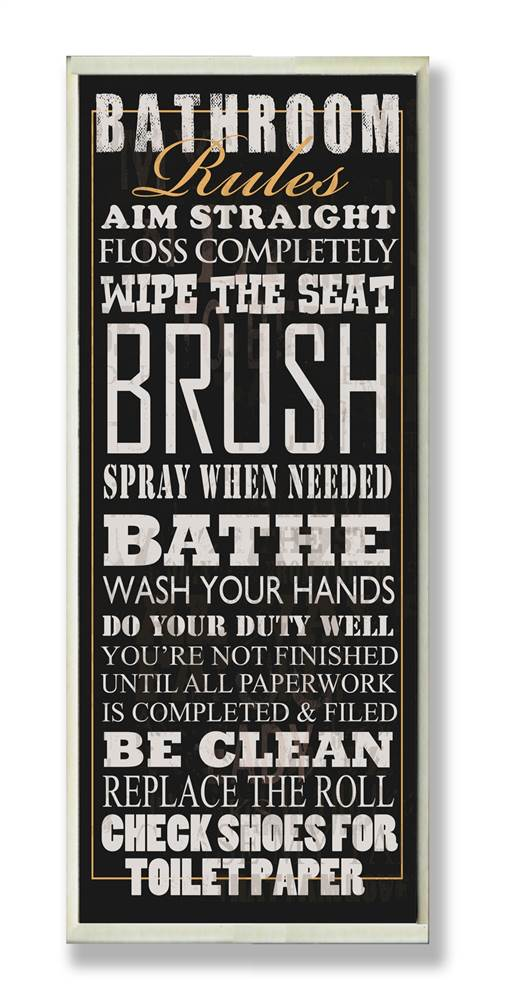 Black Bathroom Rules Typography Tall Rect Wall Plaque by Stupell Industries