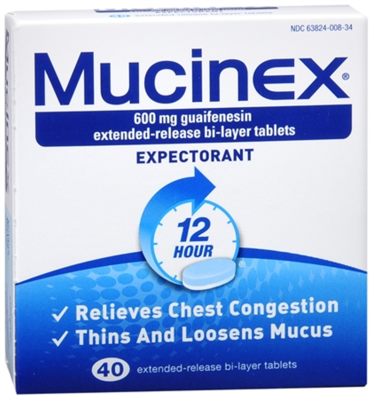 Mucinex Expectorant Extended Release Bi-Layer Tablets 40 Tablets (Pack of 2)