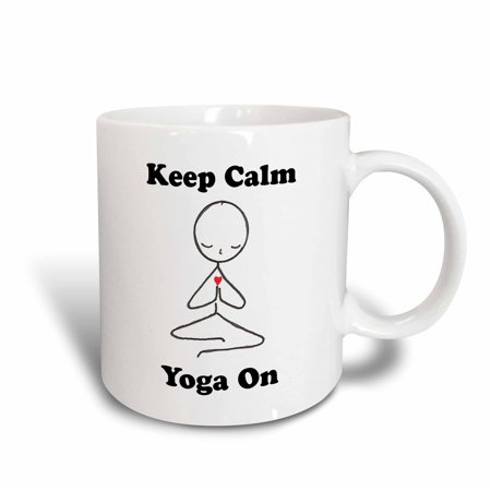 (3dRose Keep calm yoga on, Asana, Ceramic Mug, 15-ounce)