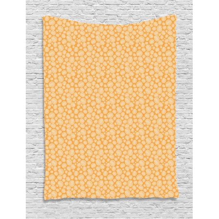 Shells Tapestry, Moon Snail Illustration Formed by Dots and Lines on Bubble Inspired Background, Wall Hanging for Bedroom Living Room Dorm Decor, 60W X 80L Inches, White and Orange, by